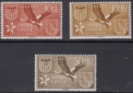 Sakhara Spanish, 1958, Birds,  3 Stamps - Cranes And Other Gruiformes