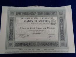 FRANCE - 35 - CIE GENERALE ARDOISIERE RIADAN PLECHATEL - ACTION DE 100 FRS  - PARIS 1896 - Unclassified