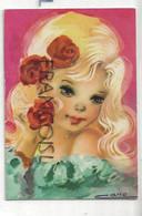 Big Eyes. Petite Fille Blonde, Roses. Signée CANO - Autres Illustrateurs