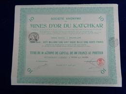 RUSSIE - SA DES MINES D'OR DU KATCHKAR - TITRE DE 10 ACTIONS DE 100FRS - BRUXELLES 1923 - Unclassified