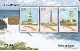 Nº 228 TARJETA DE CUBA DE LA SERIE SELLOS Y FAROS Nº4 (STAMP-LIGHTHOUSE) - Cuba