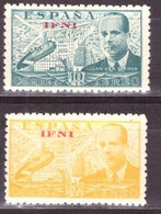 Ifni, 1947, Helicopters, Red Overprints, 2 Stamps - Helikopters