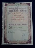 ALGERIE - ALGER 1963 - MANUFACTURES  ALGERIENNES DE TABACS CIGARES & CIGARETTES J. BASTOS - ACTION DE 100 FRS - - Unclassified