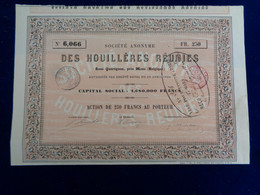 BELGIQUE - MONS 1854 - SA DES HOUILLERES REUNIES, SOUS QUAREGNON - ACTION DE 250 FRS - - Unclassified