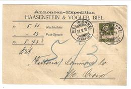 1916 Karte Nachnahme Biel Bienne To Sainte-Croix 13 Rp. Wilhelm Tell - Cartas