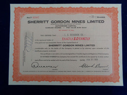 CANADA - ONTARIO 1959 - SHERRITT GORDON MINES - TITRE DE 10 ACTIONS - Unclassified