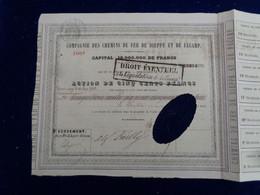 FRANCE - 1850 - CIE DES CDF DE DIEPPE & DE FECAMP - ACTION DE 500 FRS - GROSSE PERFORATION D'ANNULATION DU TITRE - Unclassified