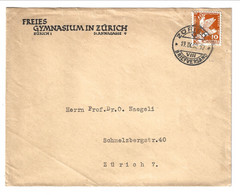 1932 Cover From Zurich Briefversand To Zurich. Freis Gynmasium In Zurich St. Annagasse 10 Rp.Conference Desarmement - Covers & Documents
