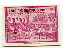 "VIGNETTE LILAS ( * ) ""  AMERICAN OLYMPIC COMMITTEE  HELSINSKI 1940 GAMES ST MORITZ "" - Otros"