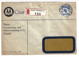 1932 Charge Registerd From Zurich 4 Raminstrasse 30 Rp. Rheinfall . Neue Versicherungs Und Ruckversicherungs - Covers & Documents