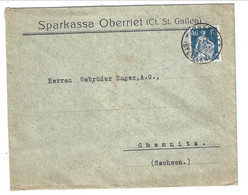 """1923 Cover """"Sparkassa Oberriet St. Gallen"""" From Oberriet St. Gallen To Chemnitz (Germany) 40 Rp. - Covers & Documents"""