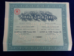 ESPAGNE -DSW TOLOSA, PROVINCE DE GUIPUZCOA 1906 - STE MINAS DE ZINC DE TERUEL - ACTION DE 100 PESETAS OR - Unclassified