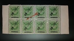 MACAU - TIPO COROA,COM SOBRETAXA  CE14d (6b) DENT.13 1/2 (BLOCO DE 8 VALORES) - Unused Stamps