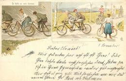 CYCLISME - CPA - PRECURSEUR - ILLUSTRATEUR -  VOYAGEE En 1900 - TRES BON ETAT - So Hâttees Seinkônen, So War's - Cycling