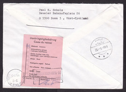 Sweden: Cover To Greenland, 1989, 1 Stamp, Arctic Expedition, Returned, Rare Retour Label, Cancel Rebuts (minor Stains) - Covers & Documents