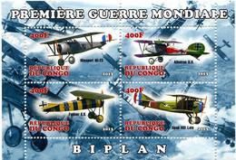 Congo République 2013  SPAD XIII, Fokker E-V, Albatros D-5 A, Nieuport 23 First World War 1ère Guerre Mondiale - Aerei