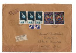 AFFRANCHISSEMENT COMPOSE SUR LETTRE RECOMMANDEE DE COURBEVOIE 1966 - 1961-....