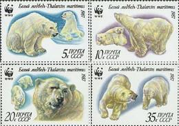 USSR Russia 1987 WWF Polar Bears Set Of 4 Stamps - Nuevos