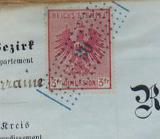 Fiscaux Alsace-Lorraine - 3 F Carmin Sur Document Complet 4 Pages - 1872 - Heming (N°12) - Fiscale Zegels