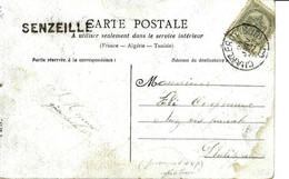 """Carte Fantaisie Avec Obl. CHARLEROY Du 21 JANV 08 à PHILIPPEVILLE + Griffe """"SENZEILLE"""" - Linear Postmarks"""