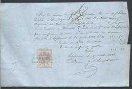 Timbre De Dimension Yvert N  ° 6 A  TYPE MANTEAU IMPERIAL Sur Reçu Daté Du 26/08/1868 - Malc 9802 - Fiscale Zegels