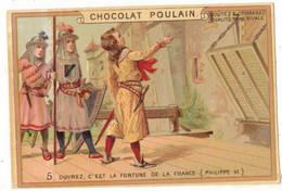 CHROMO PUBLICITAIRE GAUFRE LAQUE PUBLICITE CHOCOLAT POULAIN N° 5 HISTOIRE ROI PHILIPPE VI GUERRE 100 ANS CRECY BROYE - Poulain
