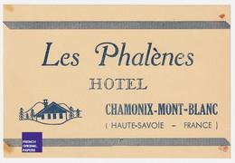 Rare étiquette De Bagage - Chamonix Mont-Blanc - Publicité Hôtel Les Phalènes A53-38 - Etiquettes D'hotels