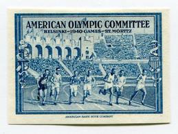 """VIGNETTE BLEUE  (*)  """" AMERICAN OLYMPIC COMMITTEE HELSINSKI - 1940 GAMES - ST MORITZ  """" - Otros"""