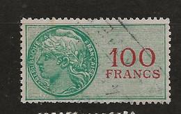 FISCAUX FRANCE DOUANES N°23  100F VERT Oblitéré - Fiscale Zegels