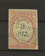 TIMBRES FISCAUX DE FRANCE DIMENSIONS N° 42 3F Et 2/10 Rouge Et Lilas Burelé Jaune  Cote 80€ - Fiscale Zegels
