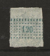 FISCAUX   DIMENSIONS N°6  20 C Gris Bleu (oblitéregrille 120)  Percage Local Cote 150 € - Fiscale Zegels