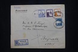PALESTINE - Enveloppe En Recommandé De Jérusalem Pour Beyrouth En 1935  - L 102359 - Palestina