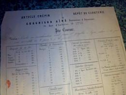 Bordeaux 18?? Document Commercial Article Crépin Clouterie Chagnard Ainé à Lyon - 1800 – 1899