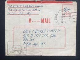 USA V-Mail WW2 Entire APO 36 1944 To APO 648 To New YOrk - Storia Postale