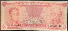 °°° VENEZUELA 5 BOLIVARES 1989 °°° - Venezuela