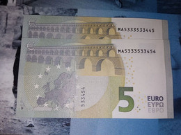 2x 5 EURO M006 G2 PORTUGAL - PAREJA RADAR - Serial Numbers MA5333533445 - MA5333533454 - UNC FDS NEUF - 5 Euro