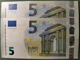 5 EURO ESPAÑA 2013 DRAGHI V012F4 VB CORRELATIVE COUPLE BANKNOTES RADAR 2 UNCIRCULATED  PERFECT - 10 Euro