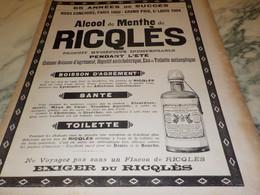 ANCIENNE PUBLICITE ALCOOL DE MENTHE FORTE DE RICQLES  1906 - Posters