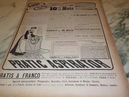 ANCIENNE PUBLICITE PRATIC ASPIRATOR 1906 - Other