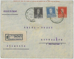 37341  - ARGENTINA  - POSTAL HISTORY  -  Stationery Cover With Added Stamps - MENDOZA To GERMANY 1924 - Postal Stationery
