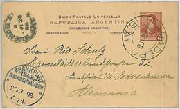 37356 - ARGENTINA  - POSTAL HISTORY  -  Stationery Card From BA BARADERO To GERMANY 1898 - Postal Stationery