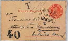 39453   - ARGENTINA  - POSTAL HISTORY  -  Stationery Card  To SPAIN - TAXED! 1903 - Postal Stationery