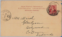 39445  - ARGENTINA  - POSTAL HISTORY  -  STATIONERY CARD To IRELAND 1896 - Postal Stationery