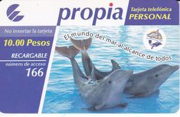 PR-043 TARJETA DE CUBA DE PROPIA DE $10 EL MUNDO DEL MAR (DELFIN-DOLPHIN) - Cuba