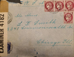 J) 1923 FRANCE, CERES, OPEN BY EXAMINER, MULTIPLE STAMPS, AIRMAIL, CIRCULATED COVER, FROM FRANCE TO CHICAGO - Non Classificati