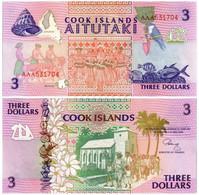 COOK ISLANDS 3 DOLLARS 1992 P 7 - UNC - Cook Islands