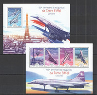 ST1109 2014 GUINE GUINEA-BISSAU ARCHITECTURE AVIATION CONCORDE ANNIVERSARY EIFFEL TOWER KB+BL MNH - Concorde