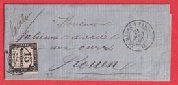 LETTRE NON TIMBREE DEPOSE AMBULANT LE HAVRE A PARIS TAXE N°3 ROUEN SEINE INFERIEURE - Lettere Tassate