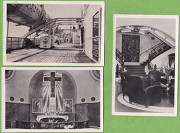 """3 CPSM Paquebot """" Ile De France """" Pont Des Embarcations + La Chapelle + Le Grand Escalier Format CPA - Steamers"""