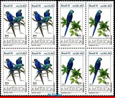 Ref. BR-2423-24-Q BRAZIL 1993 - PARROTS, AMERICA ISSUE,, UPAEP, FAUNA, MI# 2548-49, BLOCKS MNH, BIRDS 8V Sc# 2423-2424 - Parrots